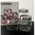 Set frascos de vidrio x 3 con tapa de acero, 825cc, 1250 y 1700cc